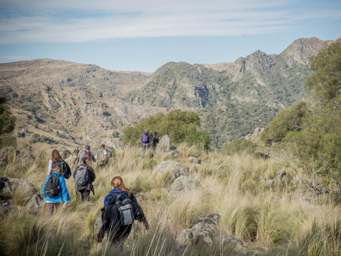 Projects Abroad volunteers go on a hike during their free time in Argentina.